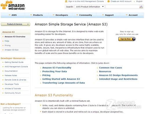 Amazon S3账户注册页面