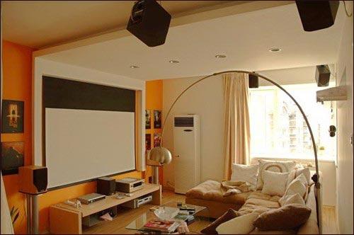 在客厅用投影机看电影(图片来自网络)