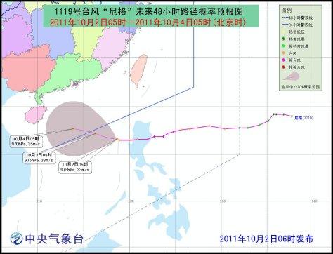 海南省气象台天气预报稿-尼格 渐向本岛东南部海面靠近 强度有加强