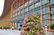 三亚火车站花团锦簇