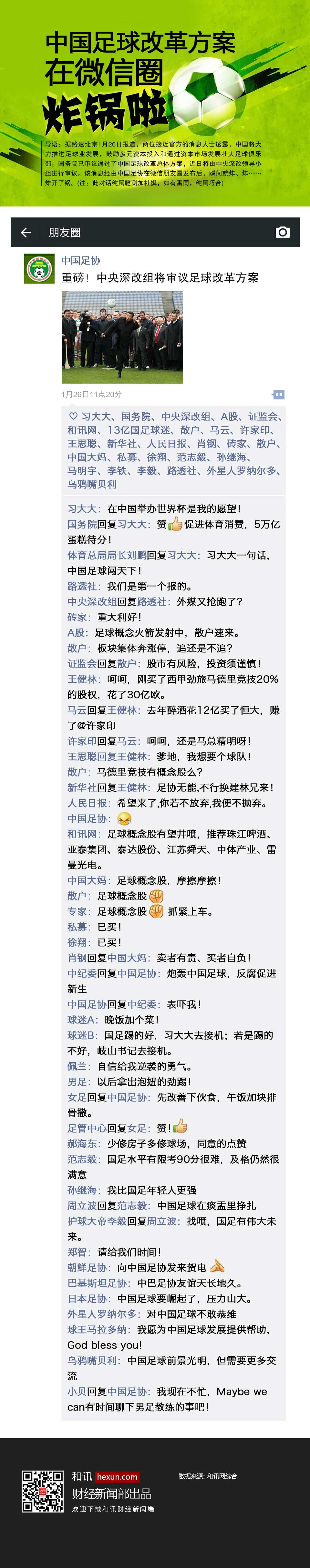 中國足球改革方案在微信圈炸鍋啦